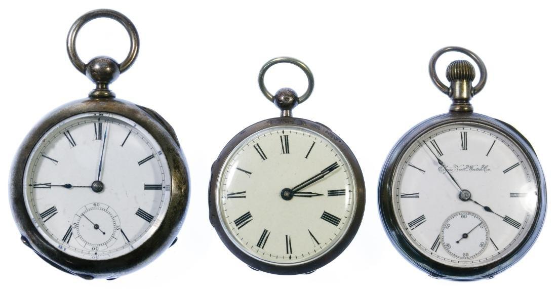 Coin Silver Open Face Pocket Watch Assortment