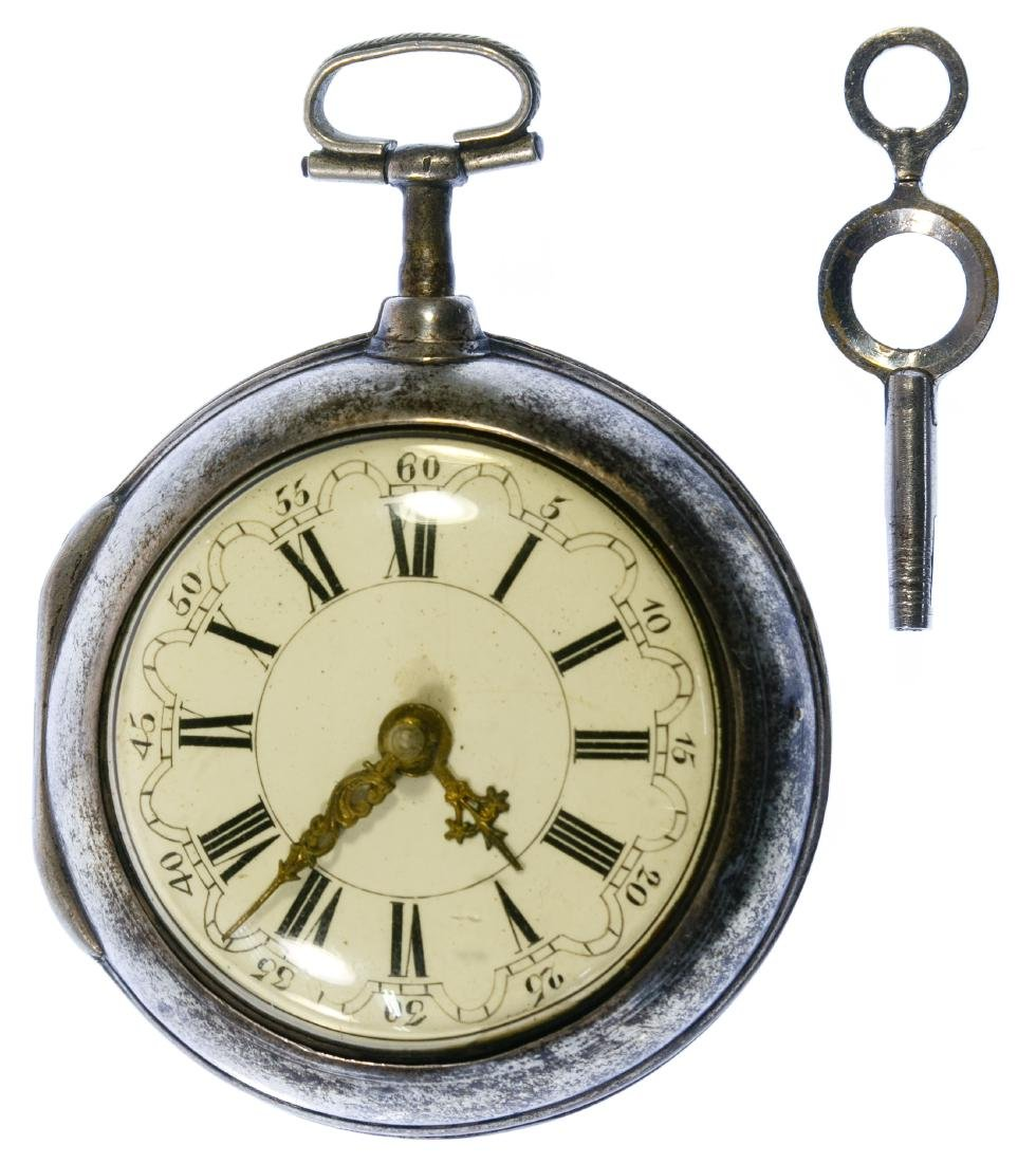 Collins Sterling Silver Pair Case Pocket Watch