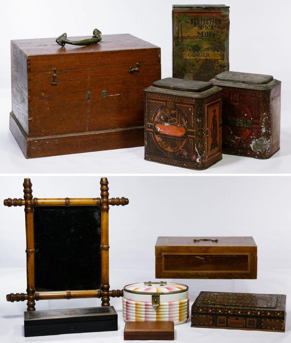 Wood, Ceramic and Tin Box Assortment