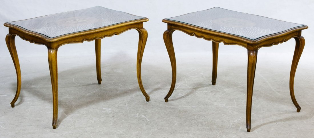 Fruitwood and Cane-top End Tables