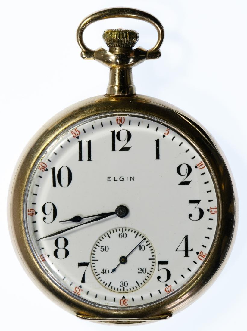 Elgin 14k Gold Open Face Pocket Watch