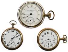 Illinois Gold Filled Open Face Pocket Watches