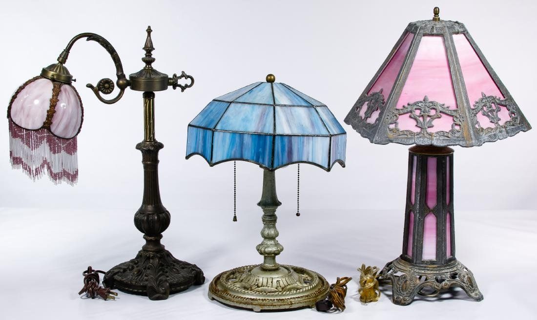 Slag Glass Shade Table Lamps