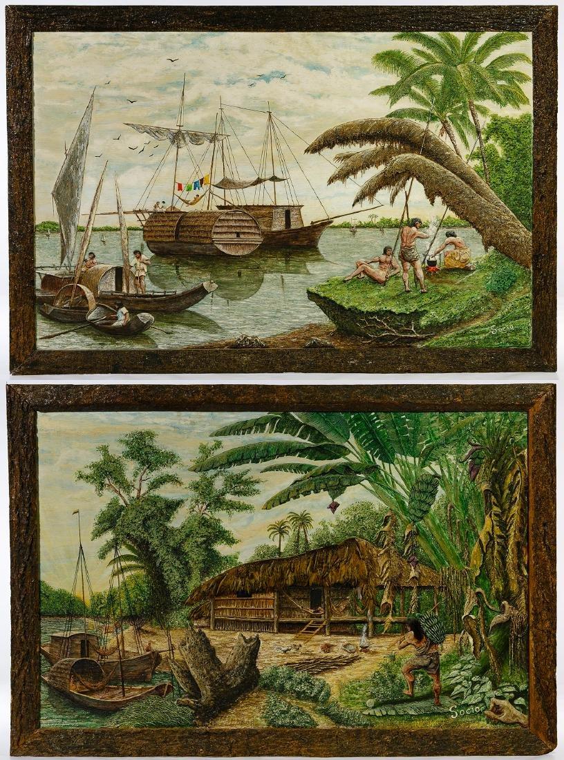 Ecuador Art School Mixed Media Paintings