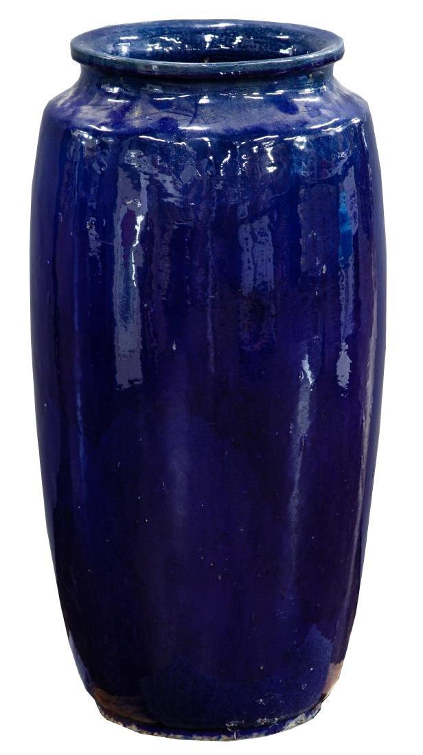 Asian Style Cobalt Blue Floor Vase