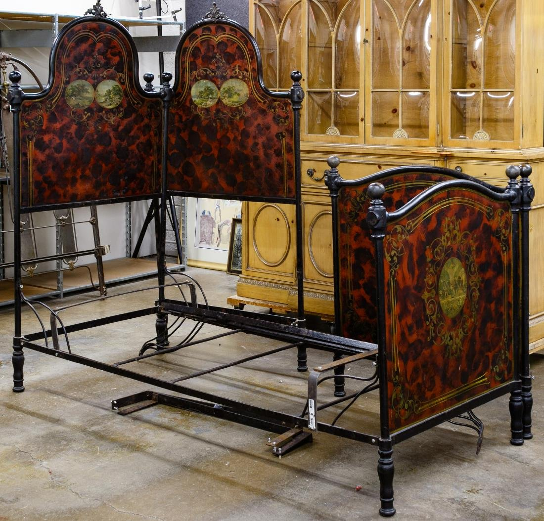 French Napoleon III Style Hand Painted Iron Beds