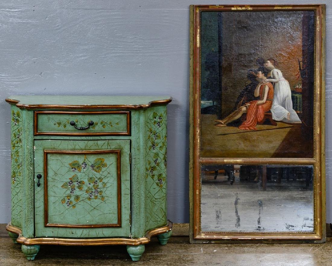 Painted Hall Cabinet and Trumeau Mirror