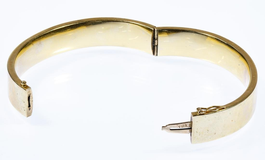 14k Gold Hinged Bangle Bracelet - 2
