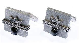 14k White Gold, Sapphire and Diamond Cuff Links