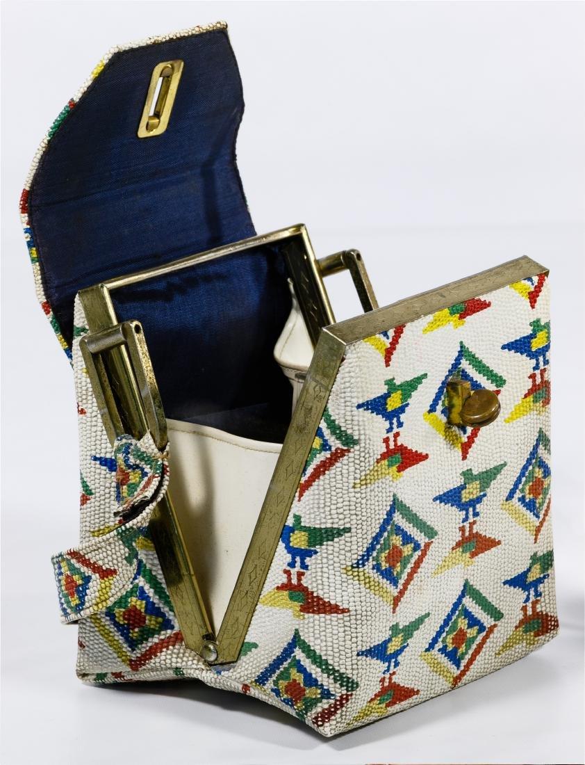 Native American White Beaded Purse - 4