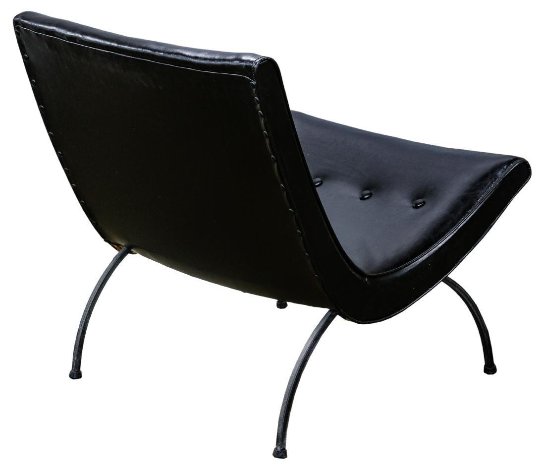 MCM Black Vinyl Scoop Chair by Milo Baughman - 2