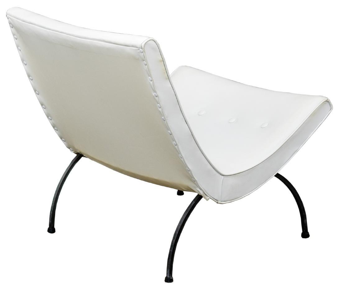 MCM White Vinyl Scoop Chair by Milo Baughman - 2