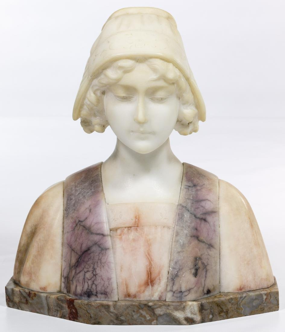 Carli (European, 20th Century) Carved Alabaster Bust