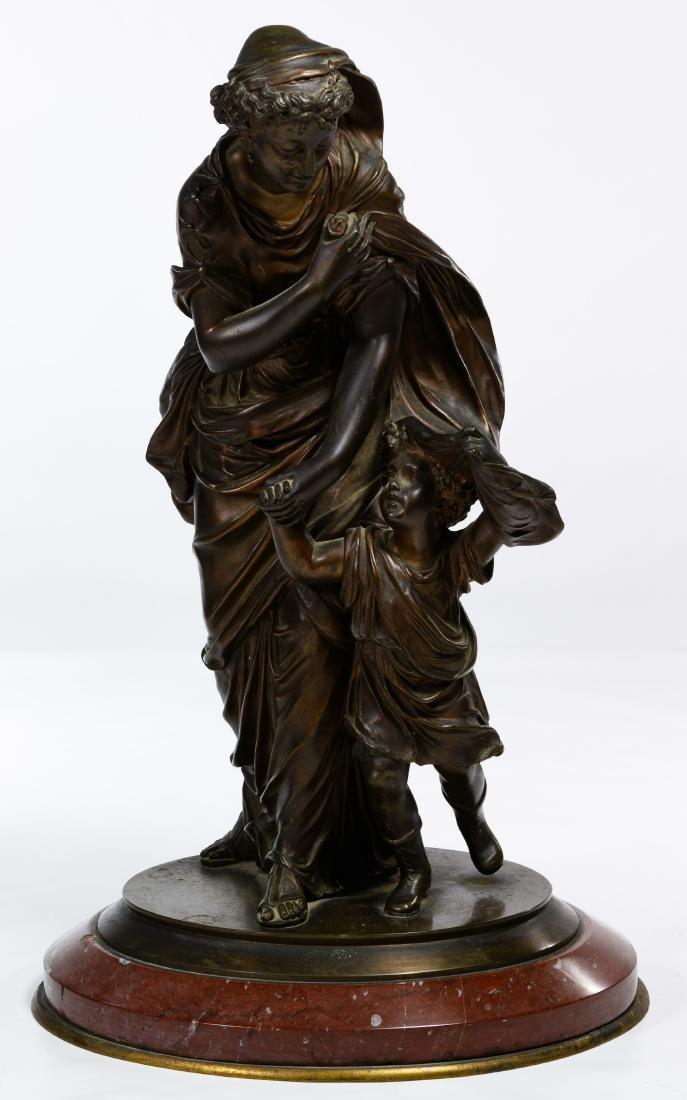 Bronze Maiden and Child Statue
