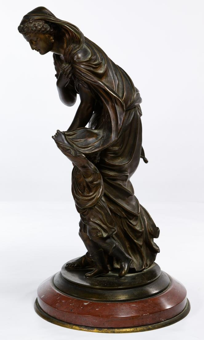 Bronze Maiden and Child Statue - 2