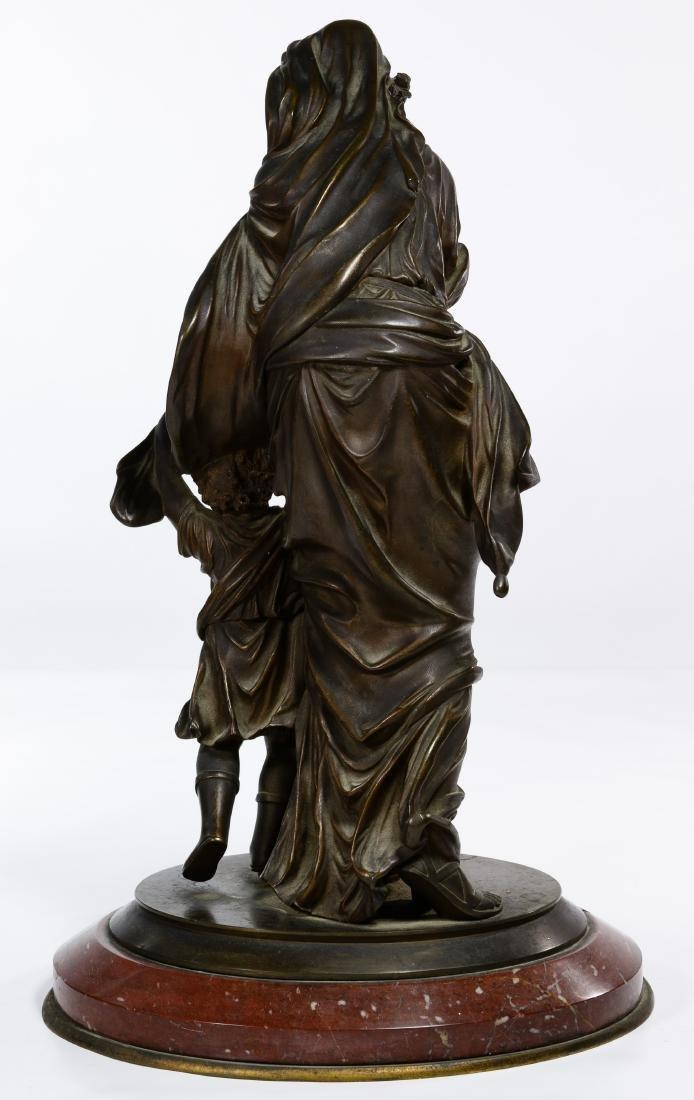 Bronze Maiden and Child Statue - 3