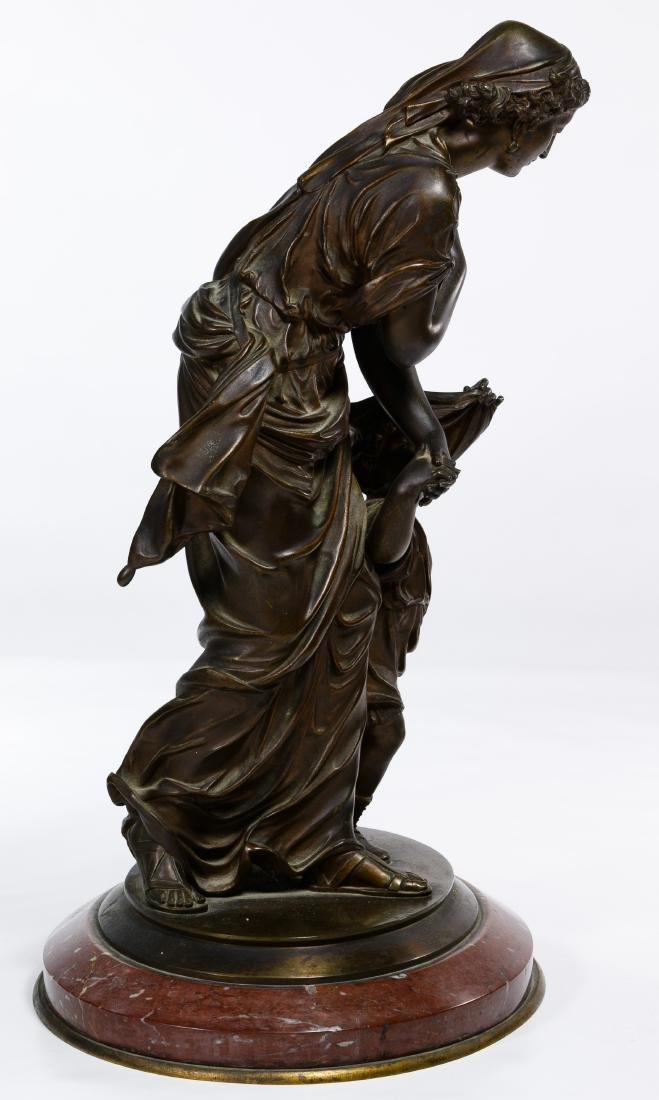 Bronze Maiden and Child Statue - 4