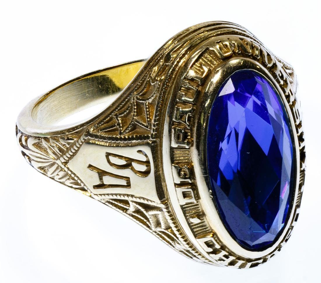 18k Gold and Sapphire School Ring