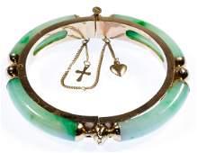 14k Gold and Jadeite Jade Hinged Bangle Bracelet