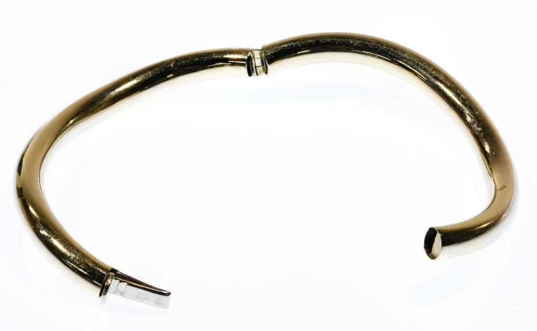 14k Gold Hinged Bangle Bracelet - 2