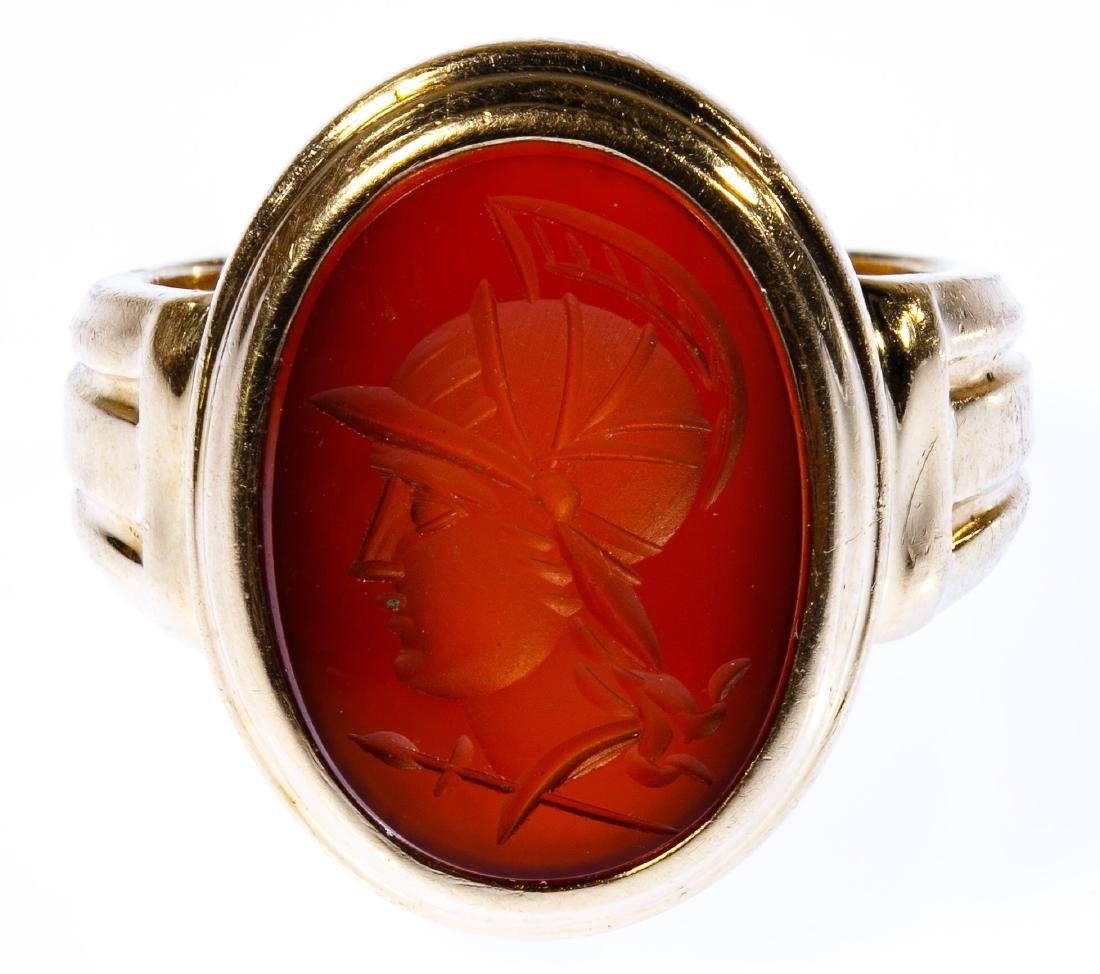 14k Gold and Carved Gemstone Ring
