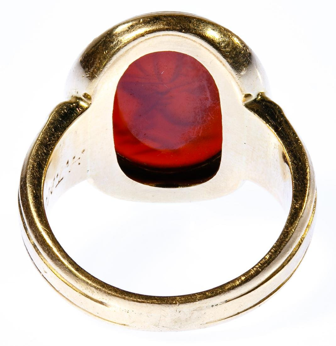14k Gold and Carved Gemstone Ring - 3