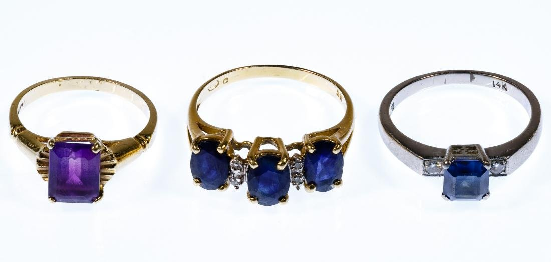 14k Gold and Semi-Precious Gemstone Ring Assortment