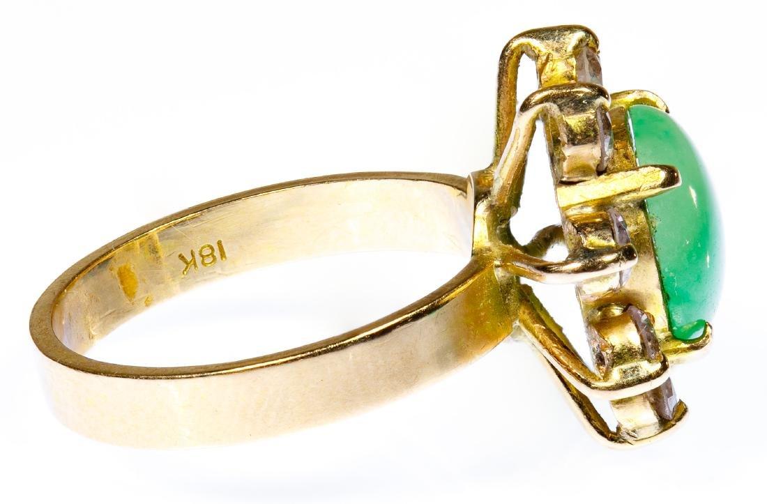 14k Gold, Jadeite Jade and Diamond Ring - 2