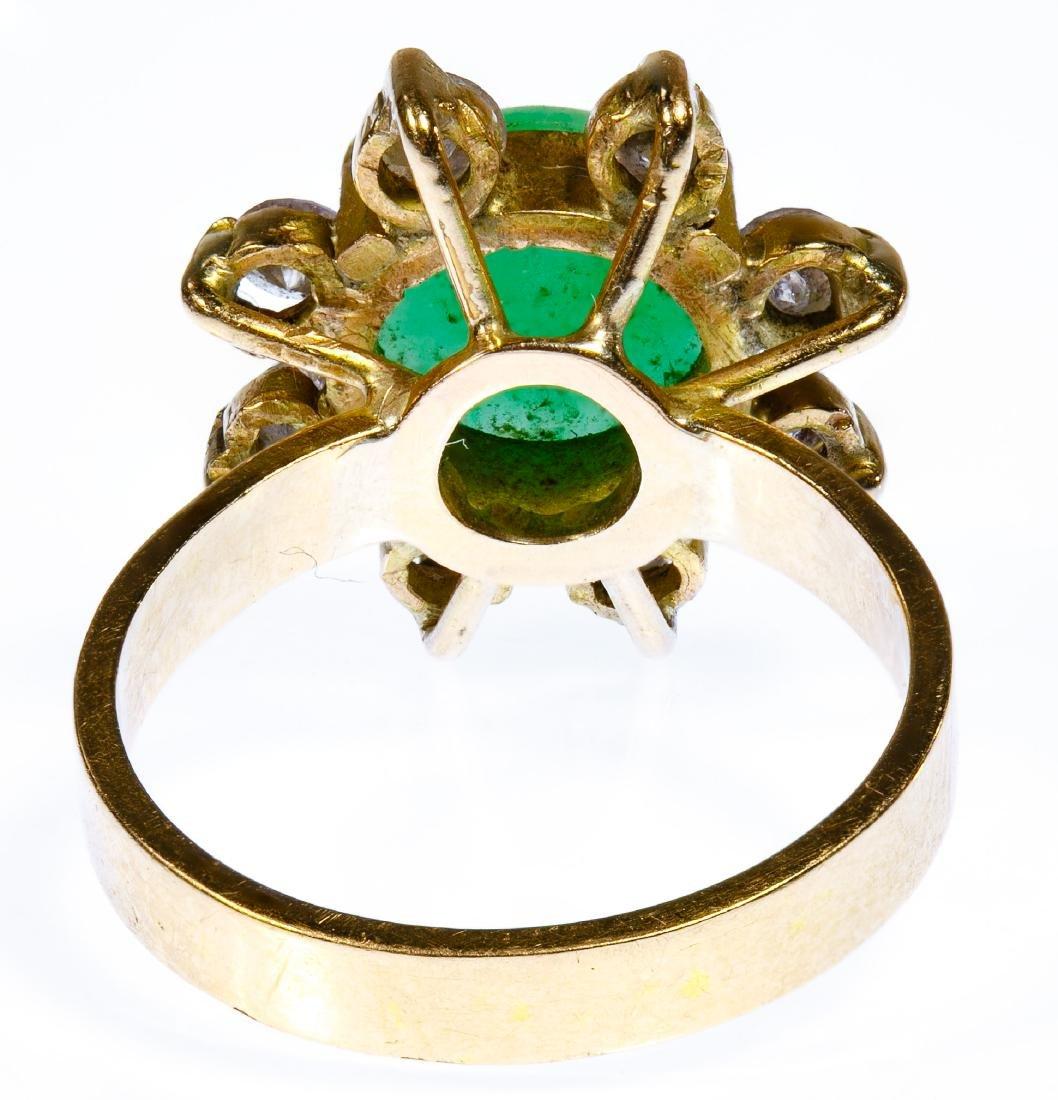 14k Gold, Jadeite Jade and Diamond Ring - 3