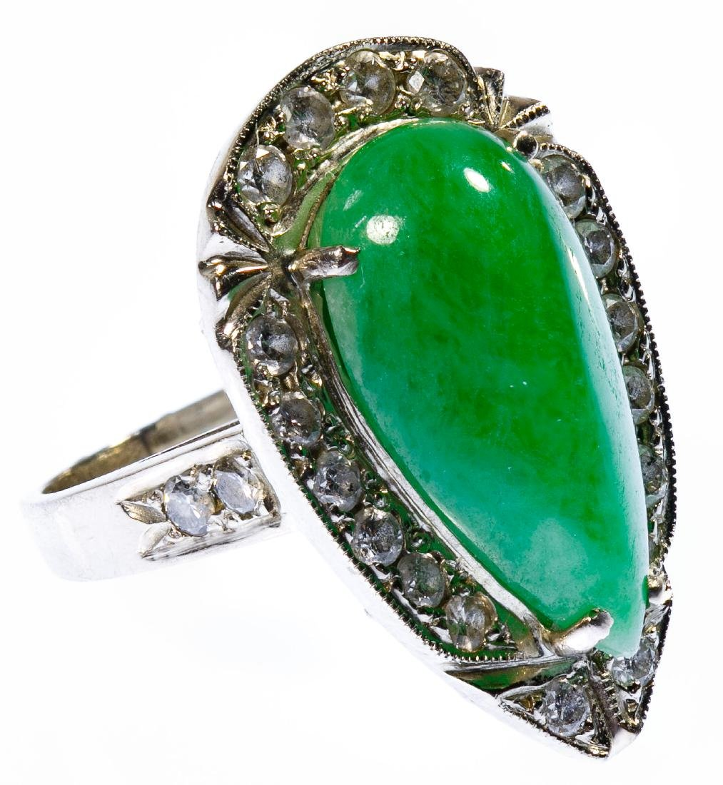 14k White Gold, Jadeite Jade and Diamond Ring