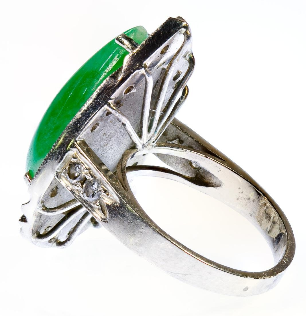 14k White Gold, Jadeite Jade and Diamond Ring - 2