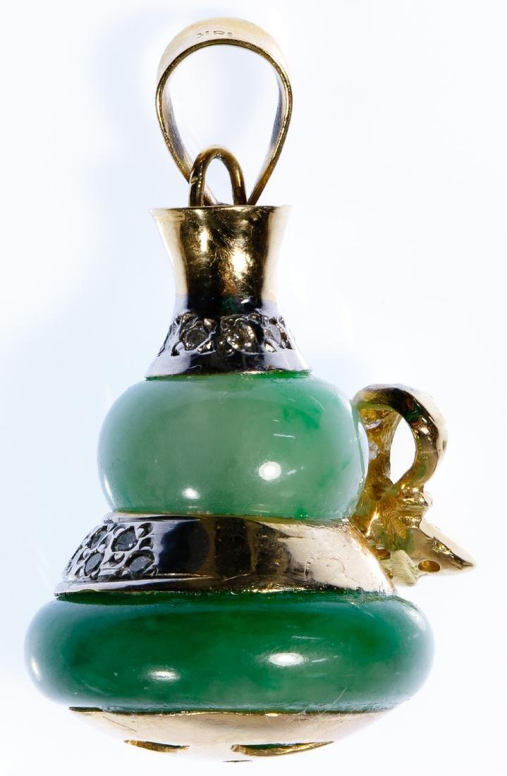 14k Gold, Jadeite Jade and Diamond Gourd Pendant - 2