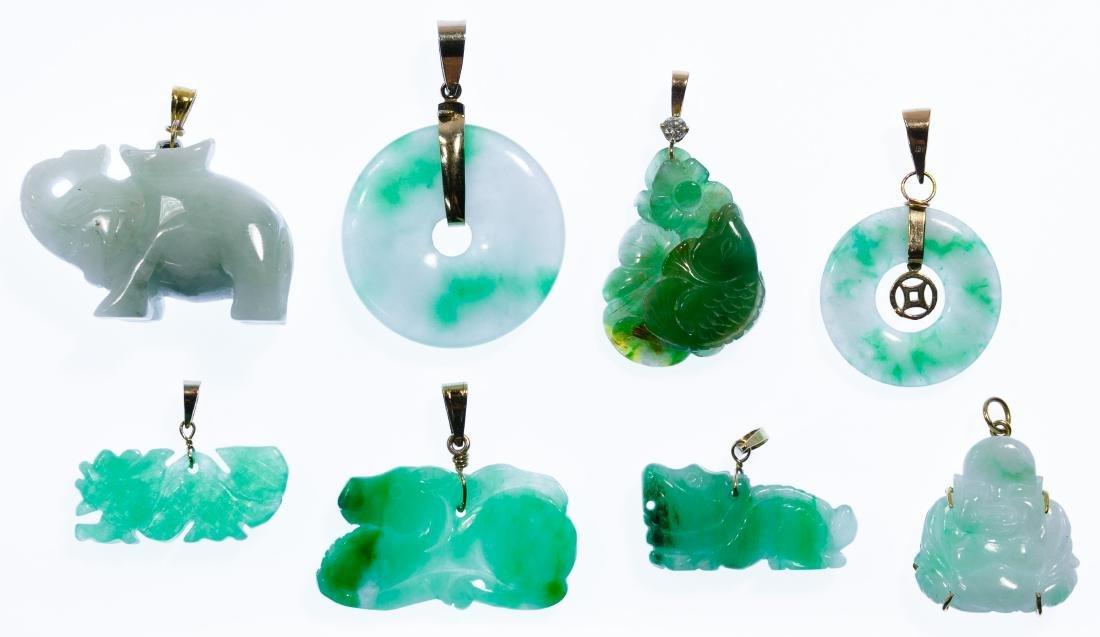 14k Gold and Jadeite Jade Pendant Assortment