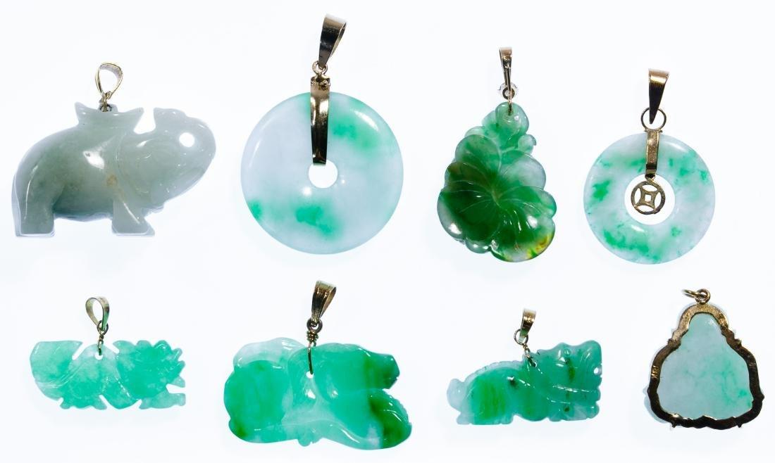 14k Gold and Jadeite Jade Pendant Assortment - 2