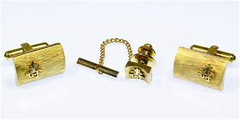 14k Gold Cuff Links and Tie Tack