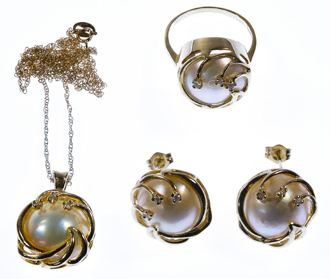 14k Gold, Pearl and Diamond Jewelry Suite