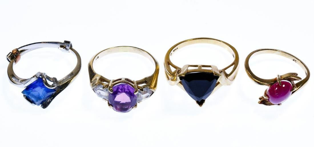 10k Gold and Semi-Precious Gemstone Ring Assortment