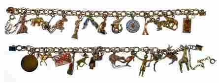 Gold Charms on Gold Filled Charm Bracelets