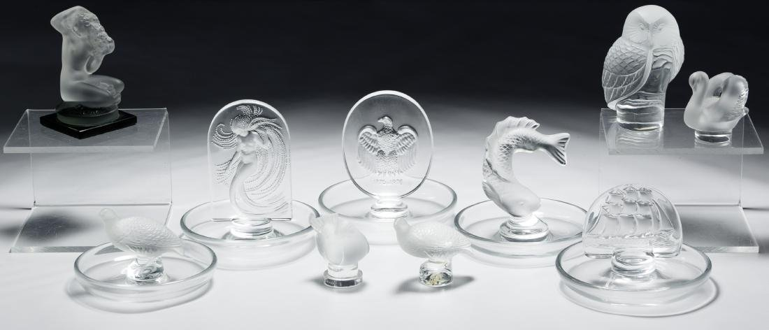 Lalique Crystal Ring Holder and Paperweight Assortment