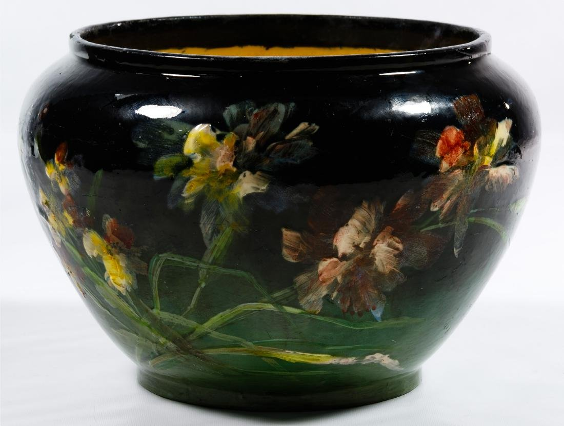 Montigny Sur Loring Hand Painted Pottery Jardiniere