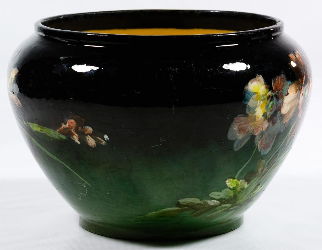 Montigny Sur Loring Hand Painted Pottery Jardiniere - 2