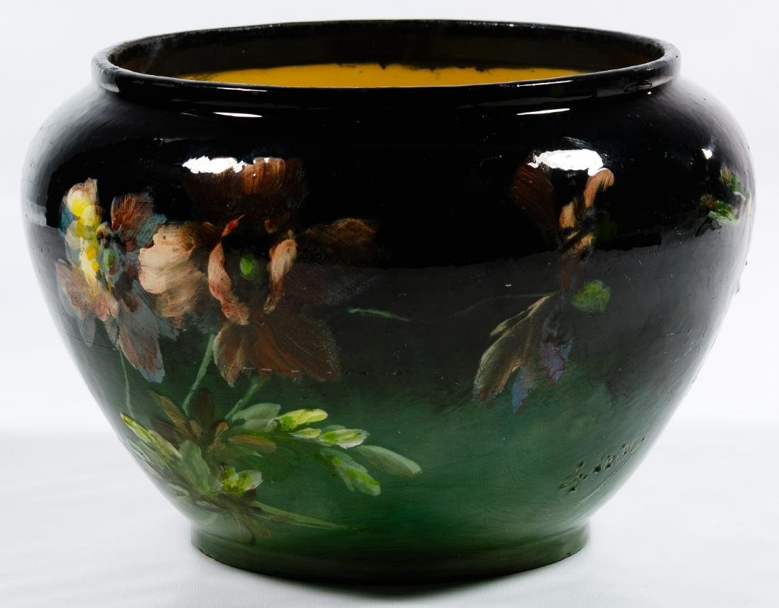 Montigny Sur Loring Hand Painted Pottery Jardiniere - 3