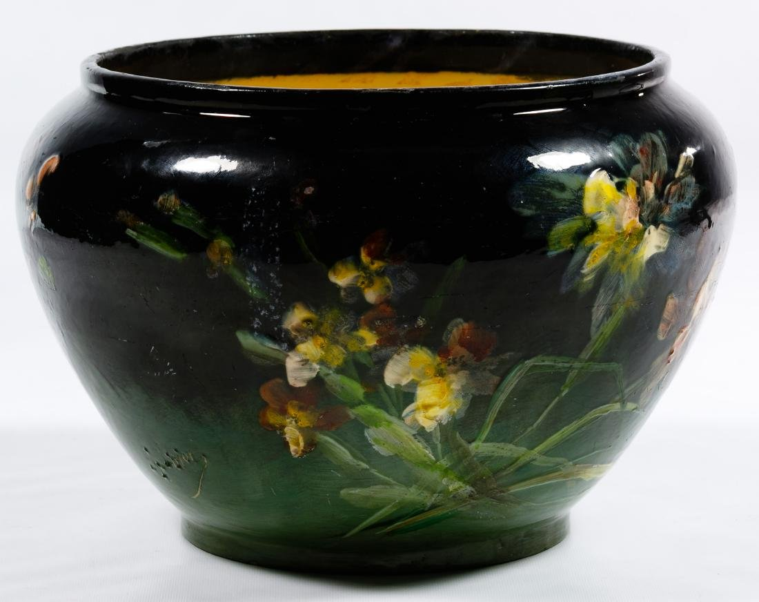 Montigny Sur Loring Hand Painted Pottery Jardiniere - 4