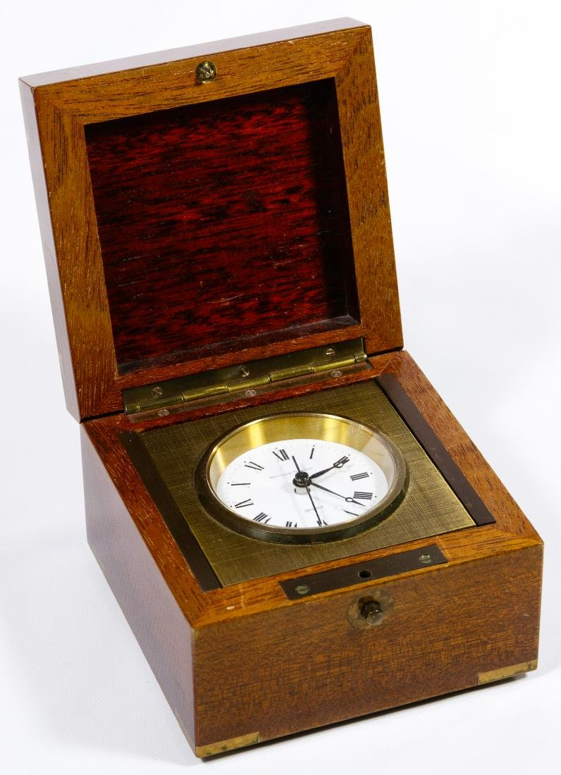 Matthew Norman Brass Desk Clock in Wood Box