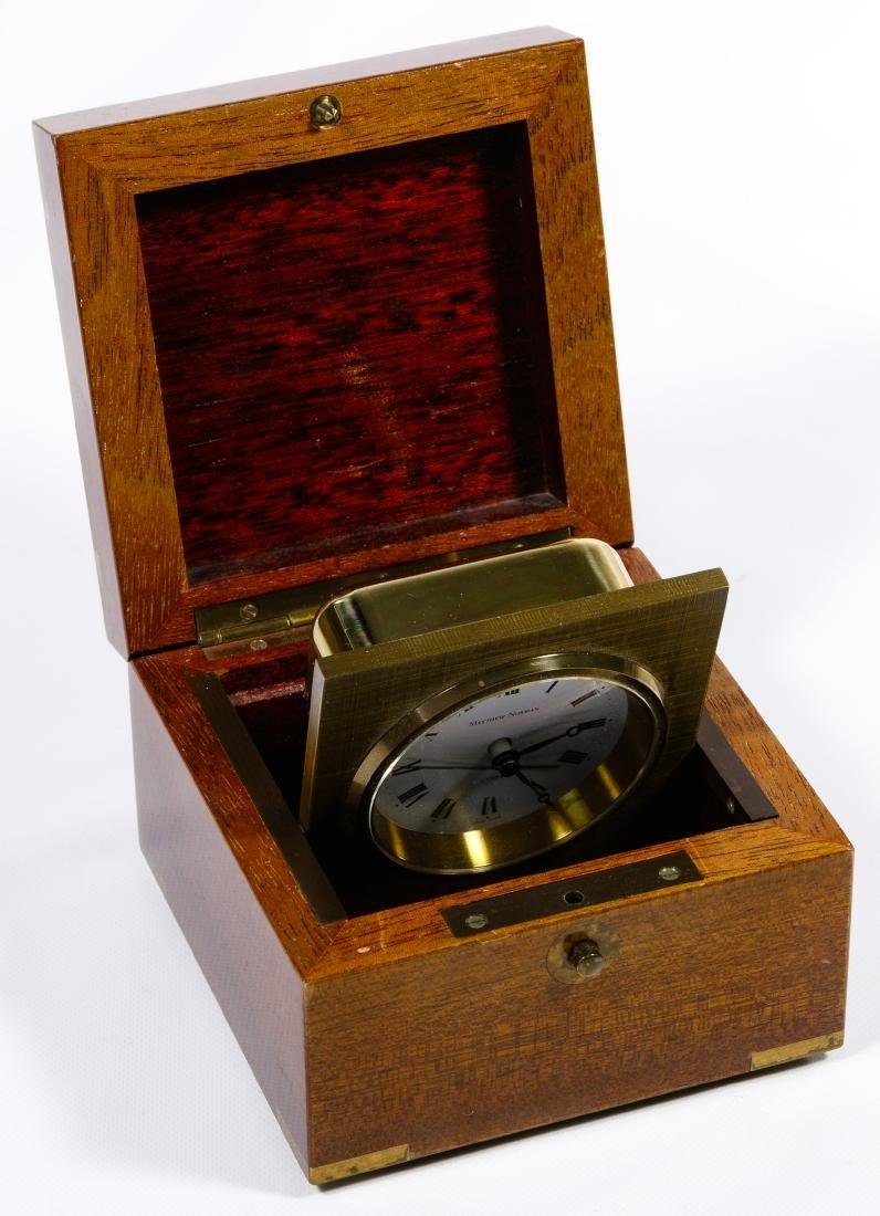 Matthew Norman Brass Desk Clock in Wood Box - 2