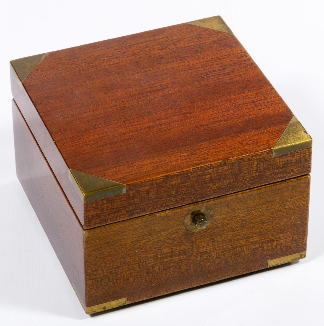 Matthew Norman Brass Desk Clock in Wood Box - 3