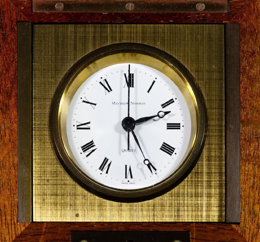 Matthew Norman Brass Desk Clock in Wood Box - 4