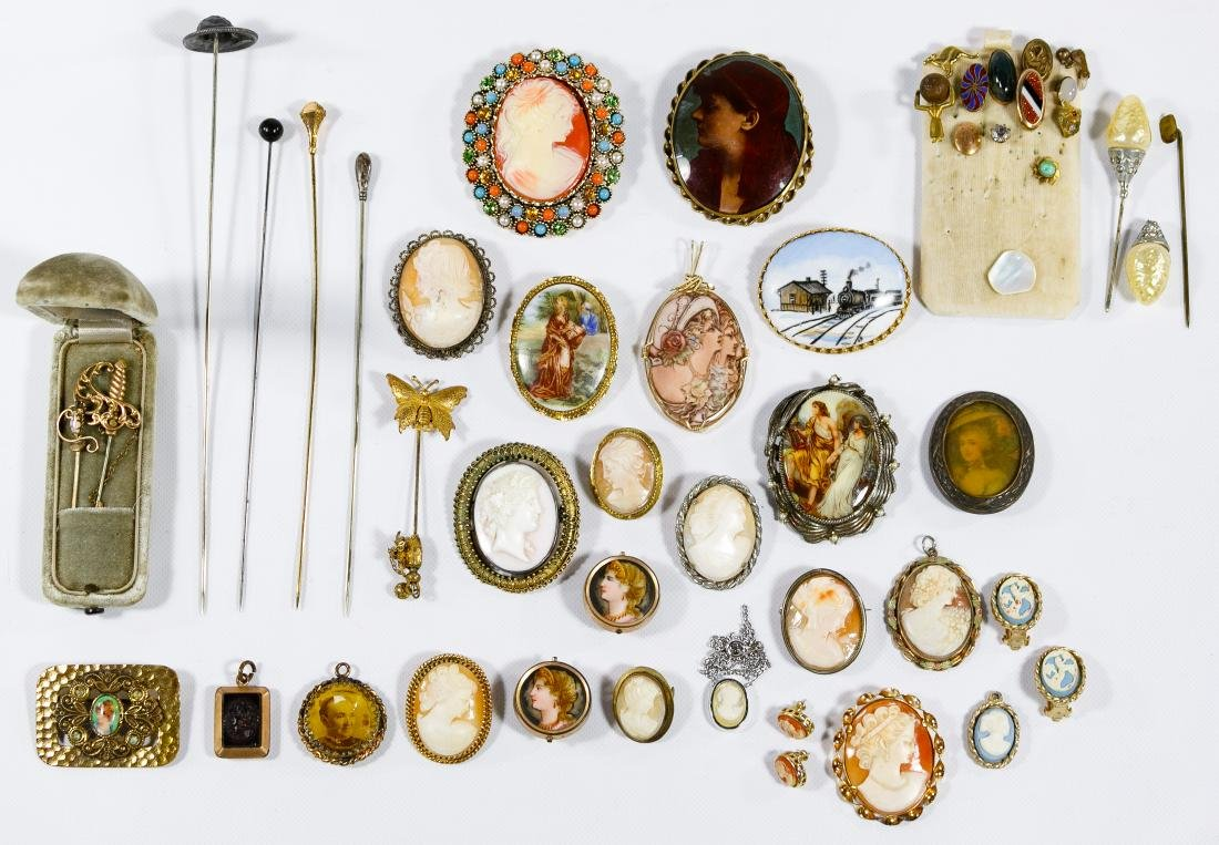 Cameo Jewelry, Lapel and Hat Pin Assortment