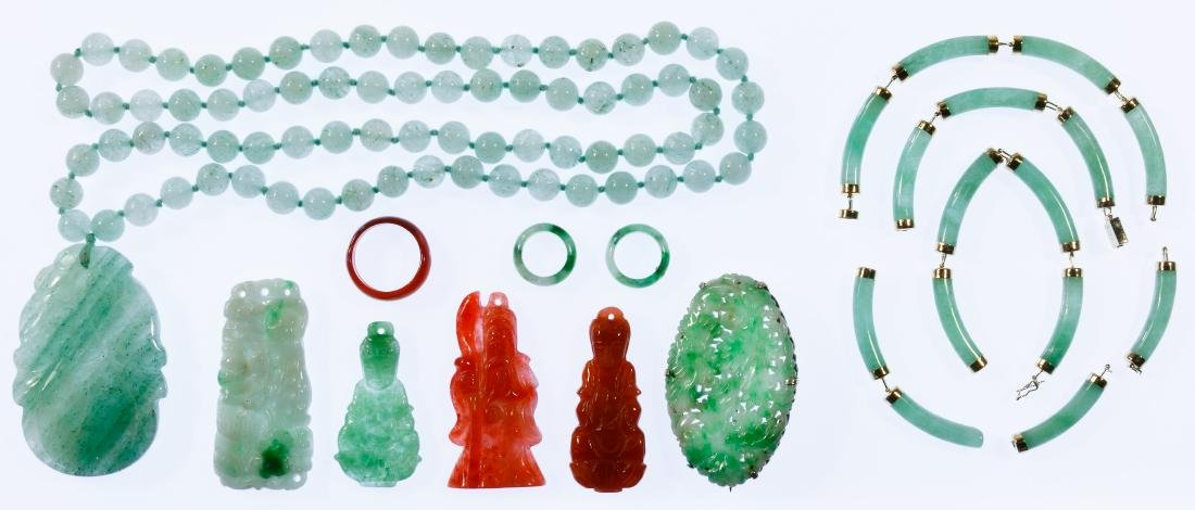 Carved Jadeite Jade Jewelry Assortment