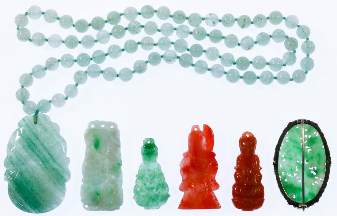 Carved Jadeite Jade Jewelry Assortment - 2